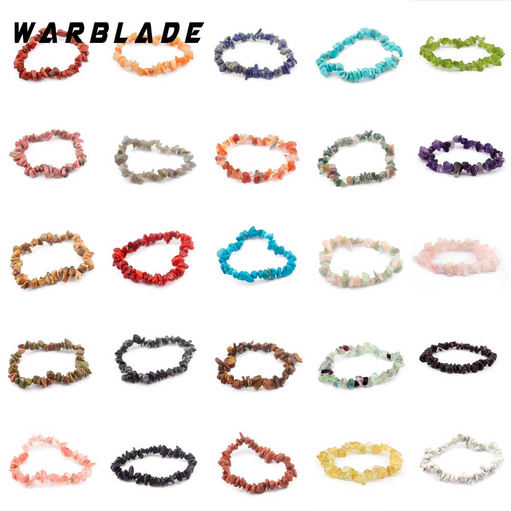WarBLade 35 Colors Natural Gem Stone Bracelet For Women Tiger eye Crystal Quartz Stretch Chip beads Nuggets Bracelets Bangles