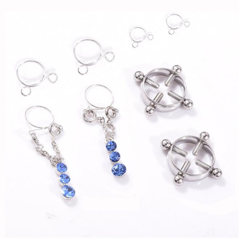 2pair/set Stainless Steel Water Drop Non pierced Clip On Nipple Rings Women Sexy Fake Nipple Dangle Adjustable Body Jewelry