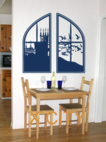 Extra Large Castle Window Die Cut Vinyl Transfer Stencil Decal Sticker Wall Art Home Room Decor