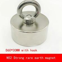 1PCS D60*30mm Large block N52 Strong magnetic force NdFeB rare earth Neodymium magnet with hook permanent diameter 60X30MM цены онлайн