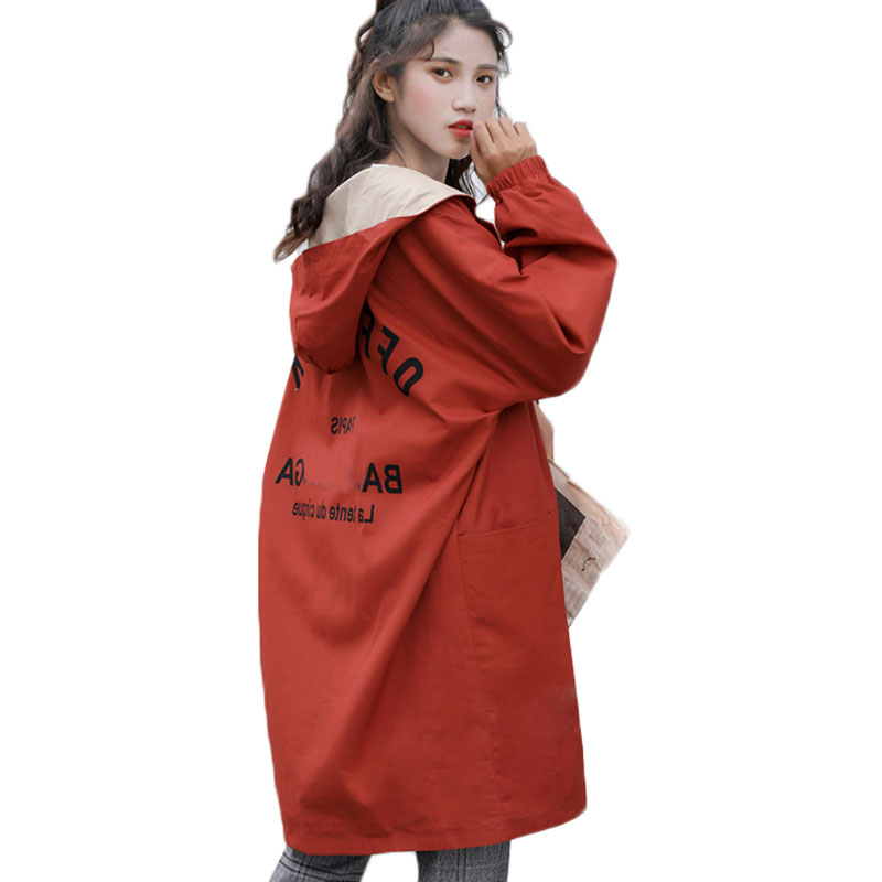 BF Style Double-sided Wear Women Windbreaker 2019 Spring Coat Korean Loose Large size Long Outerwear Student Hooded   Trench   Coat