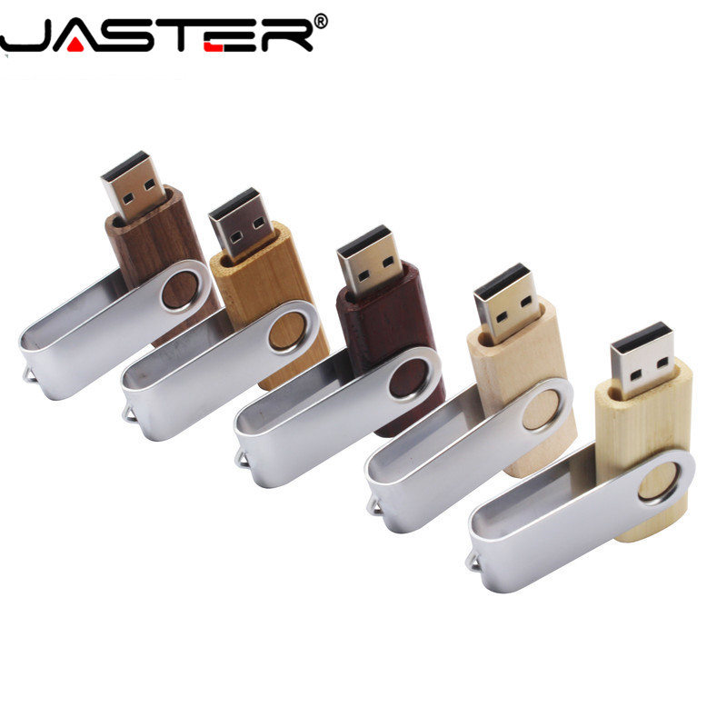 JASTER Rotating Wood USB Flash Drive 2.0 4GB 8GB 16GB 32GB 64GB Rotatable Metal Housing Customizable Company Logo Business Gifts