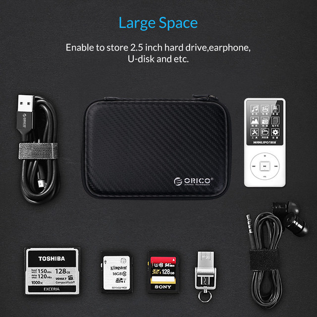 ORICO 2.5 Hard Disk Case Portable HDD Protection Bag for External 2.5 inch Hard Drive/Earphone/U Disk Hard Disk Drive Case Black 1