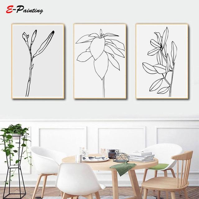 Modern Abstrak Kanvas Lukisan Line Art Botanical Flower Cetak Poster
