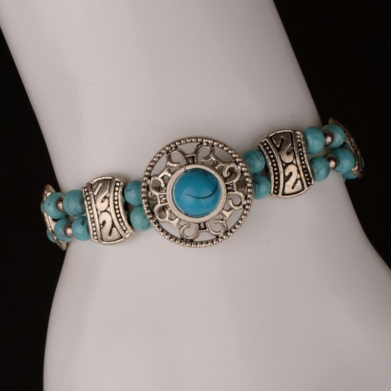 17+4cm Tribal Ethnic Round Charm Bracelet for Women Red/Blue/Black Color Adjustable Vintage Handmade Bohemian Jewelry