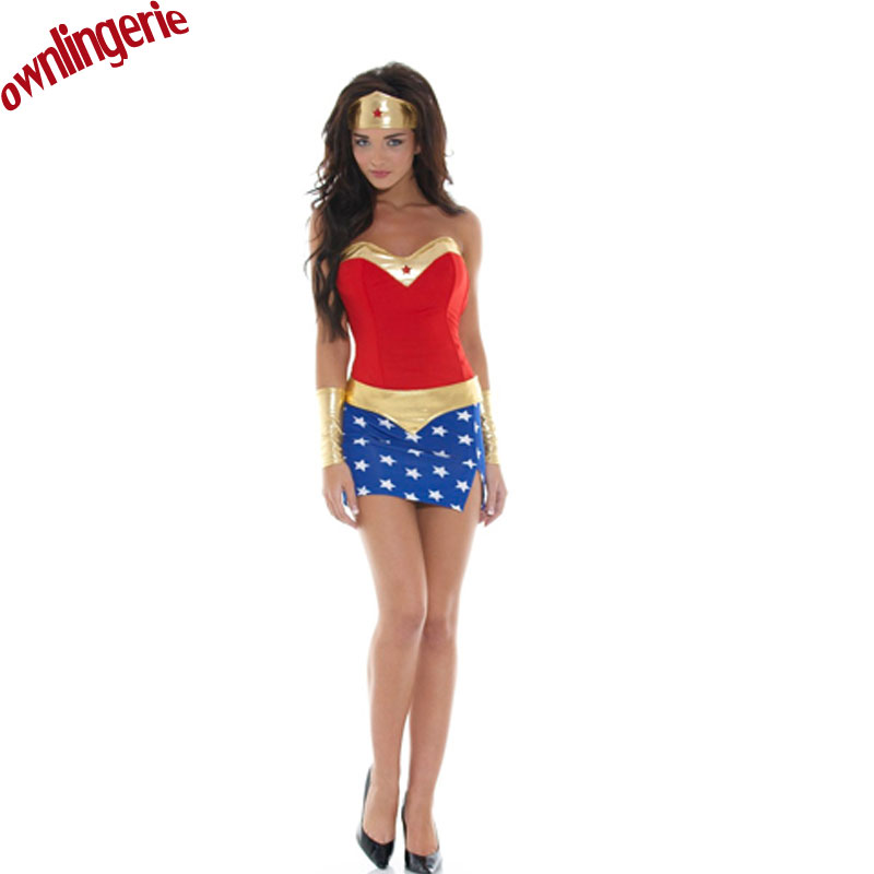Free shipping Halloween Costumes for Women Wonder Woman Costume Adult Sexy Dress Cartoon ...