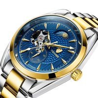 TEVISE Wristwatches Mens Top Brand Luxury Moon Phase Auto Mechanical Waterproof Watches Wristwatches Gift