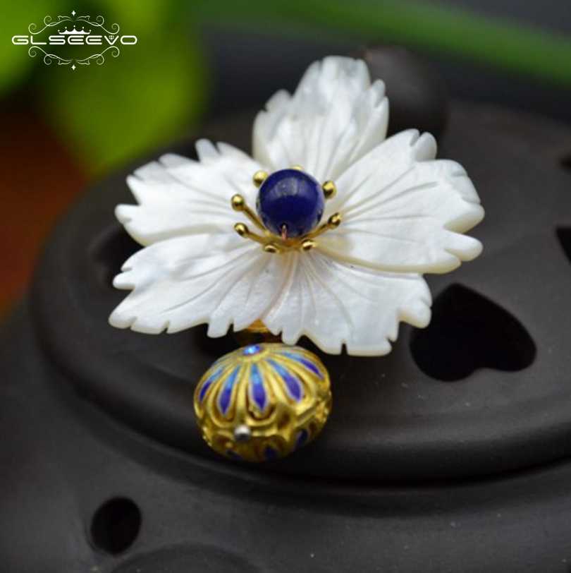 GLSEEVO Natural Lapis Lazuli Mother Of Pearl Flower Brooch Pins And Brooches For Women Dual Use Luxury Fine Jewelry GO0109 glseevo natural lapis lazuli flower brooch pins and brooches for women accessories birthday gifts dual use luxury jewelry go0183