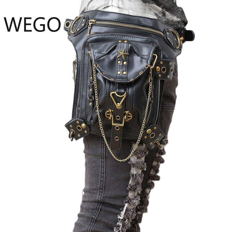 Gothique Steampunk rétro Rock sac hommes femmes Punk taille sac sac à bandoulière coque de téléphone titulaire femmes messenger sac