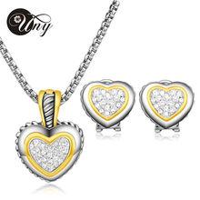 UNY 2015 hot selling 18K gold crystal zircon heart necklace earring design women jewelry set fashion jewelry best valentine gift
