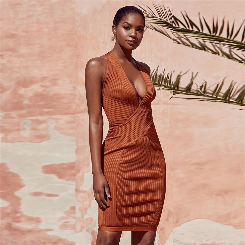 Autumn 2018 New Arrivals Women Sexy Bandage Dress Club Evening Party Vestidos Sleeveless Above Knee Bodycon