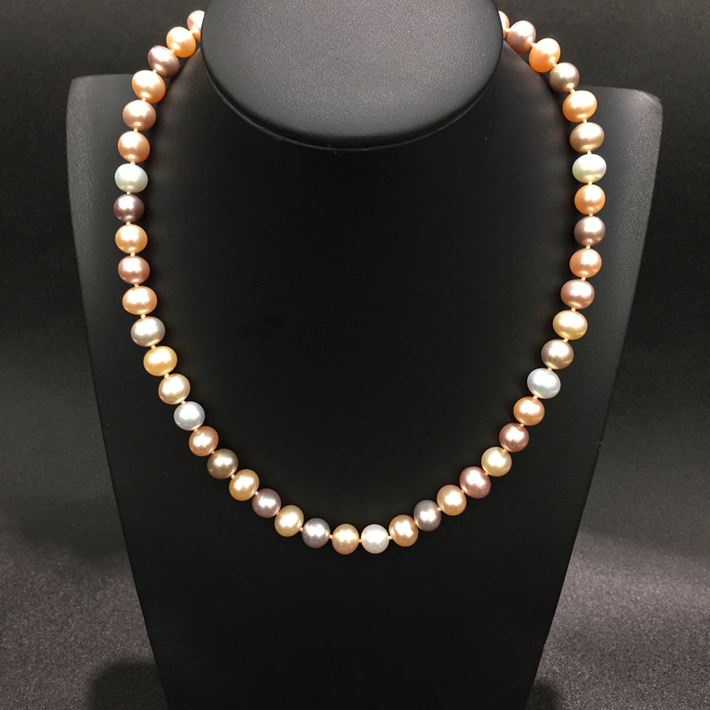 8-9MM  gemstone natural fresh water pearl necklace multi color nearround  flawless fine women jewerly silver lock free shipping