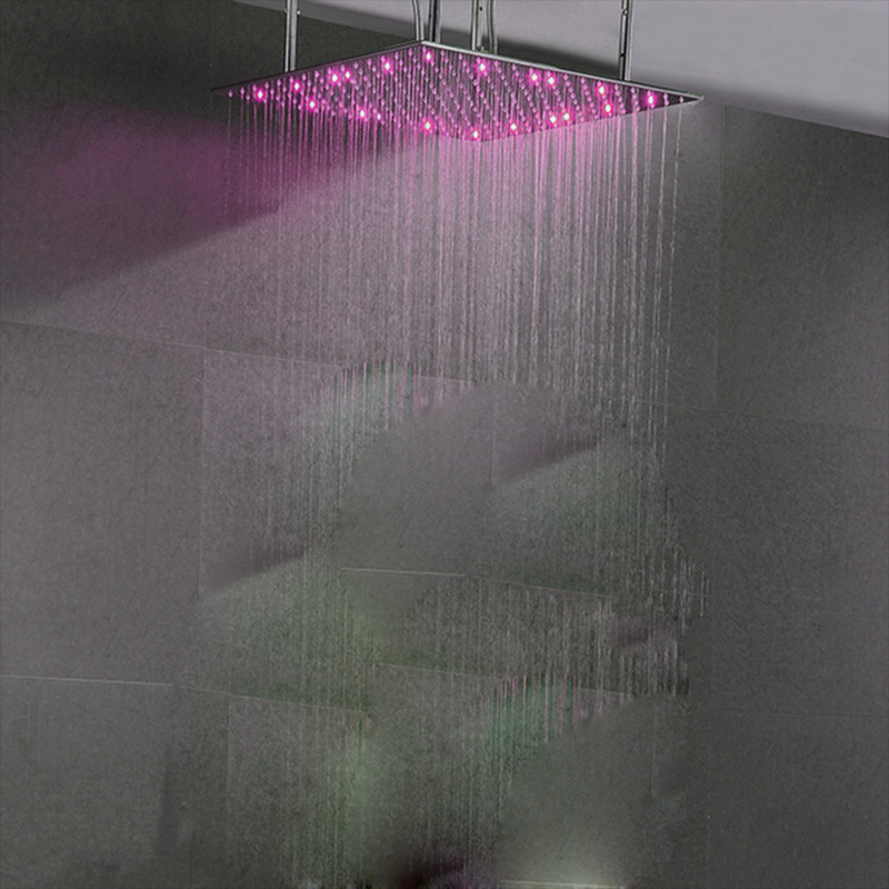 LED Light Oversized Square Shower Head 4131 Inch Rainfall Water Saving Shower Heads Single Chrome soffione doccia Big SPA duche 2