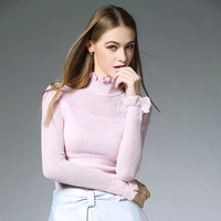Womens Sweaters Fashion 2015 Autumn Pullover Winter Knitted Sweaters Ruffles Turtleneck Lined Wool Sweater Korean Fashion Style