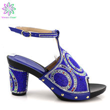 Customized Factory Wholesale Summer Slipper Blue Wedding Shoes Without Bag To Match Italian shoes PU Leather Comfortable Heels(China)