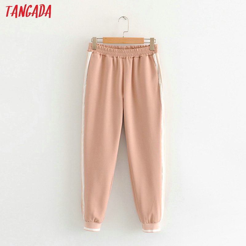 Tangada Women Casual Side Stripe Harem Pants Elastic Waist Pockets Female Ankle Length Sports Trousers Pink Pantalones HY228