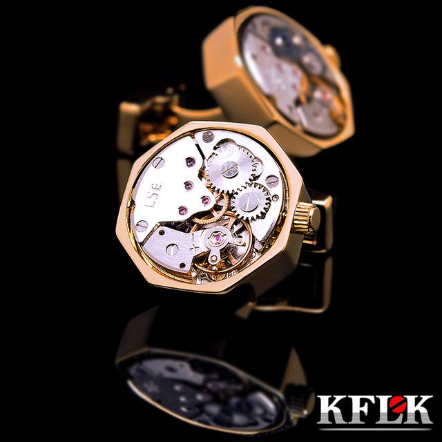 Cufflins camisa KFLK jóias para mens movimento do relógio Marca manguito botão cor De Ouro manguito link de Alta Qualidade abotoadura Frete Grátis
