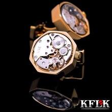 Botón de puño de la camisa cufflins KFLK joyería para hombre de la Marca de color Oro ver movimiento gemelos Alta Calidad abotoadura Envío Gratis