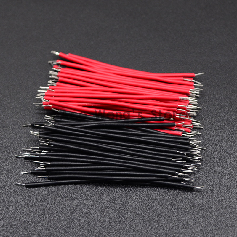 【5CM】 28AWG Standard Jumper Wire Pre-cut Pre-soldered Pack of 100 Red
