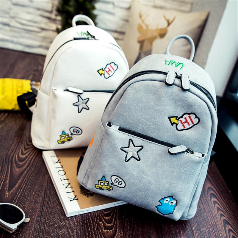 New Arrival Summer Cute Cartoon Embroider Line Backpack Fashion Leisure Girl Small Bag Women School Bags BP0018 new arrival cartoon images girl fashion black