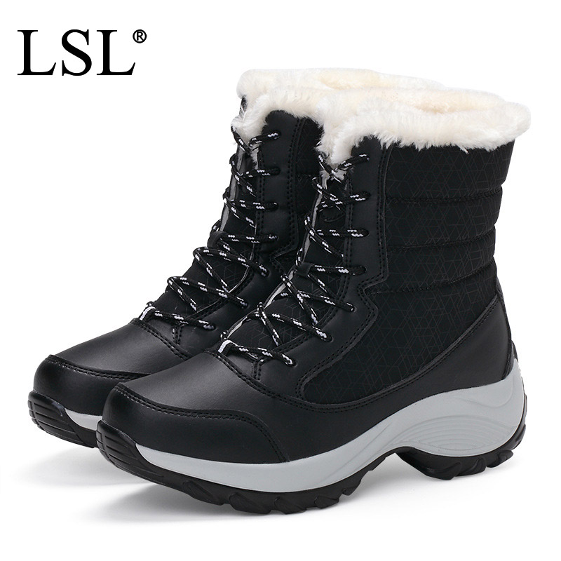 Fashion 2018 Women Ankle Boots with Fur Thicken Women Snow Boots for Russian Casual Flats Boots Shoes Plus Size 35-41