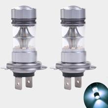2PCS H7 6000K 100W White LED 20 SMD Projector Fog Driving DRL Light Bulb цены