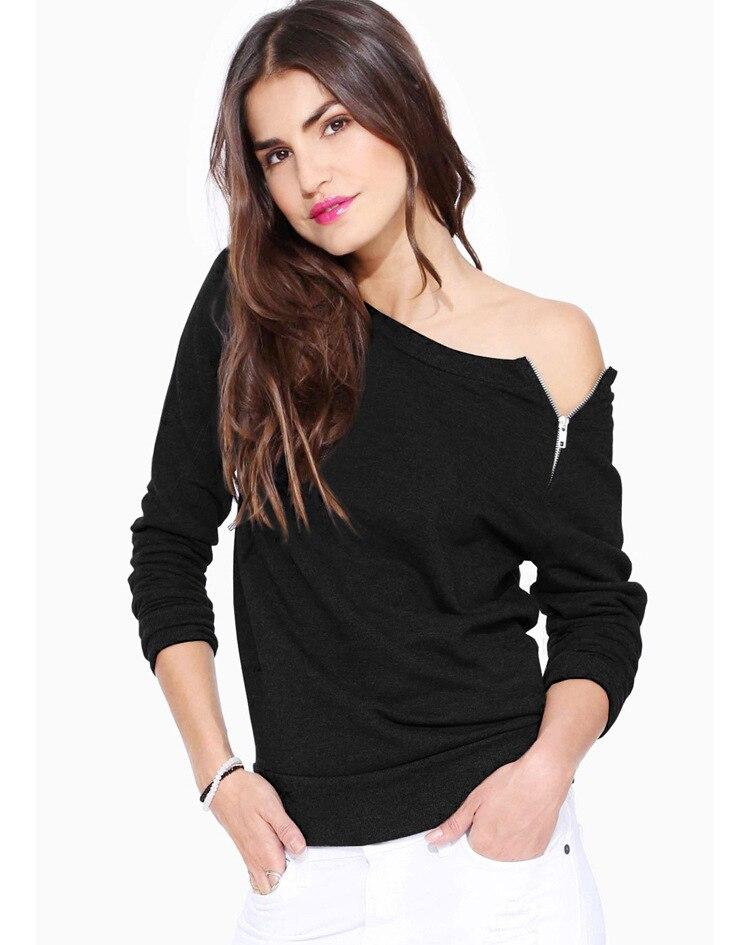 buy fashion 2016 women black tee shirt femme side zipper long sleeve tshirt. Black Bedroom Furniture Sets. Home Design Ideas