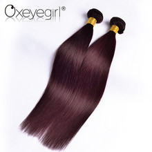 [Oxeye girl] Straight Hair 99j Burgundy Brazilian Hair Weave Bundles Non-Remy Human Hair Bundles 10″-24″ 1 Bundle Free Shipping
