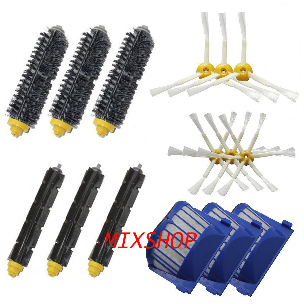 3 Blue AeroVac Filter + 3 set main Brush kit +6 side brush for iRobot Roomba 600 Series 620 630 650 660 accessory Replacment ntnt free post shipping new 4 aerovac filter 2 brush 6 armed for irobot roomba 500 600 series 550 650