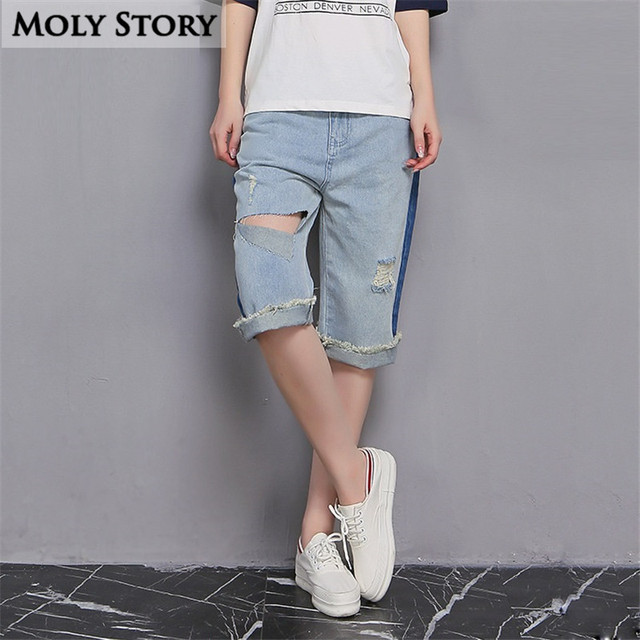 b6a272afc08 Summer Korean Style Ripped Boyfriend Short Jeans Denim Shorts Women Plus  Size Knee Length Shorts Fringe Wide Leg Pant with Hole