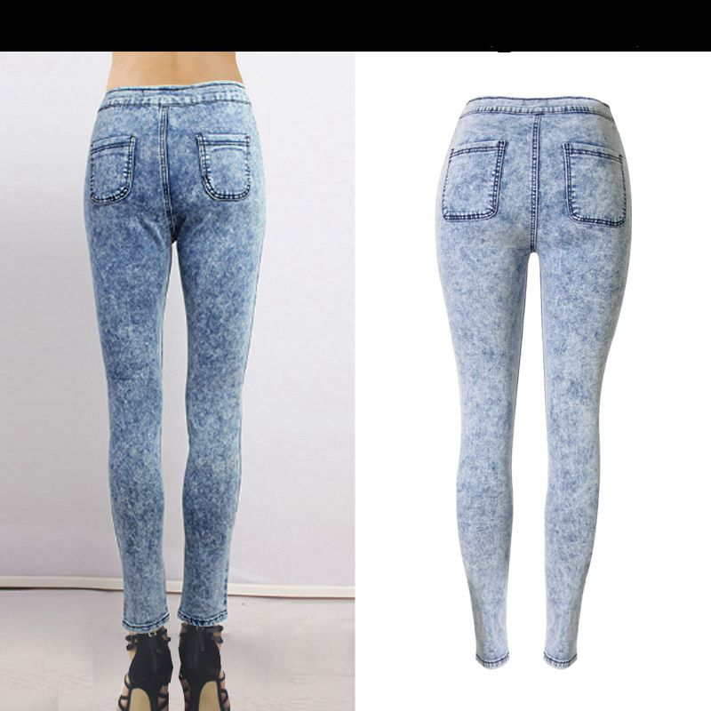 a6159416fe86 PADAUNGY High Elastic Jeans Women Wash Tie Pencil Pants Skinny Denim  Trousers Plus Size Jean Slim Femme Slim Pantalones Mujer-in Jeans from  Women s Clothing ...