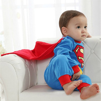 Free Shipping Baby Boy Romper Superman Long Sleeve Christmas Costume Gift Boys Rompers Spring Autumn Clothing