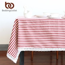 BeddingOutlet Red Striped Tablecloth Cotton Linen Dinner Stripe Table Cloth  Macrame Decoration Lacy Table Cover Classic For Gift