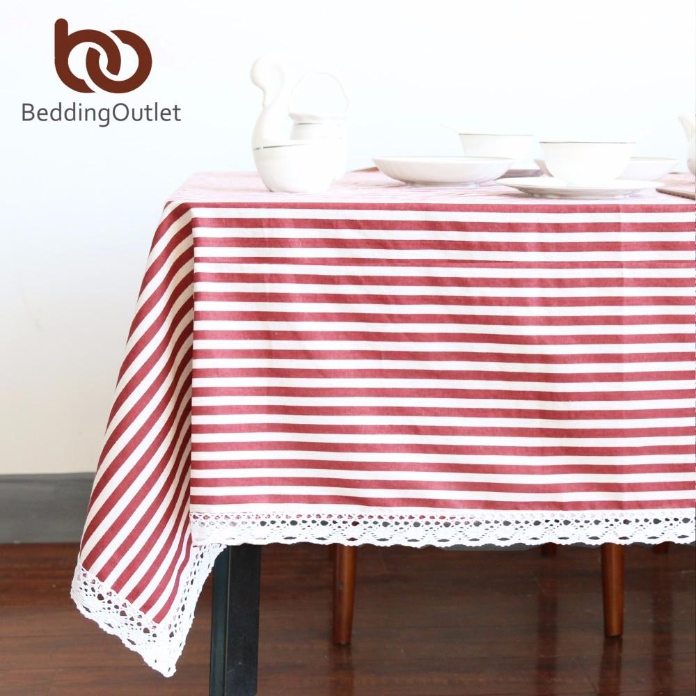 Beddingoutlet mantel de rayas rojas algodón cena Mesa raya tela ...