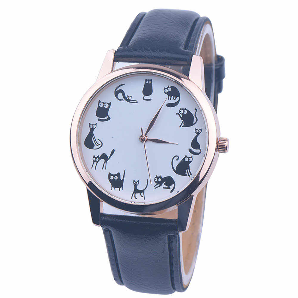 Reloj Baru Leather Strap Jam Tangan Kucing Lucu Wanita Kuarsa Analog Dial Watch Lady Dress Jam Wanita Arloji Relogio Feminino # joyl
