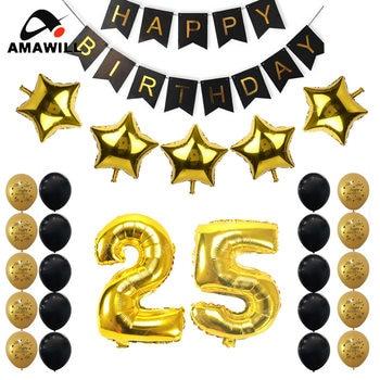 ca45ffa8a257 Amawill Oro Negro Kit 25th cumpleaños decoración del partido juegos Feliz  cumpleaños Banner 25 años fiesta 8D