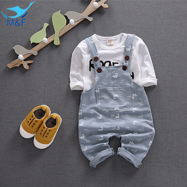 M&F Brand Autumn Baby Boys Overall suit Cotton T-Shirt +Long Sleeve 2pc Baby Girls Clothes Cartoon Newborn Children Clothing set