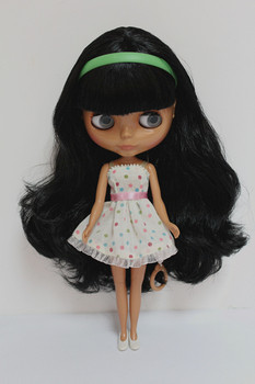 Blygirl Blyth doll Black bangs straight hair black skin ordinary body 7 joints DIY doll can change makeup