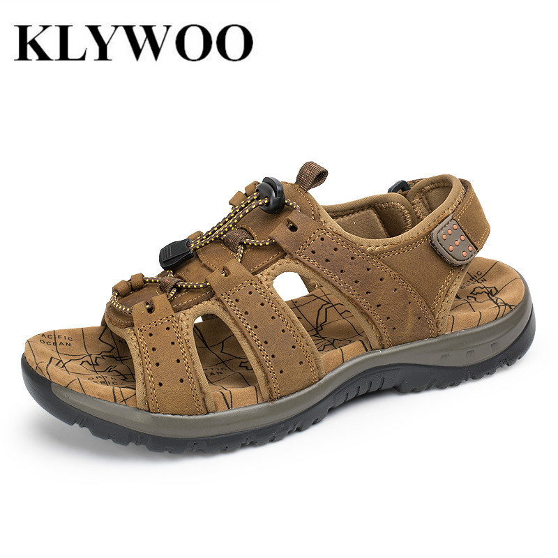 Plus Size 38-45 Fashion Breathable Men Sandals Genuine Leather Cowhide Slides Outdoor Casual Shoes Men Summer Leather Shoes Men