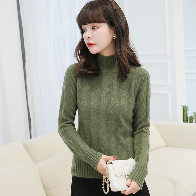 36c55079801ea Women Sweater 4Colors 100% Pure Cashmere Knitted Jumpers Winter New Fashion  Female Jumpers Girl Tops Turtleneck Girl Thick Cloth