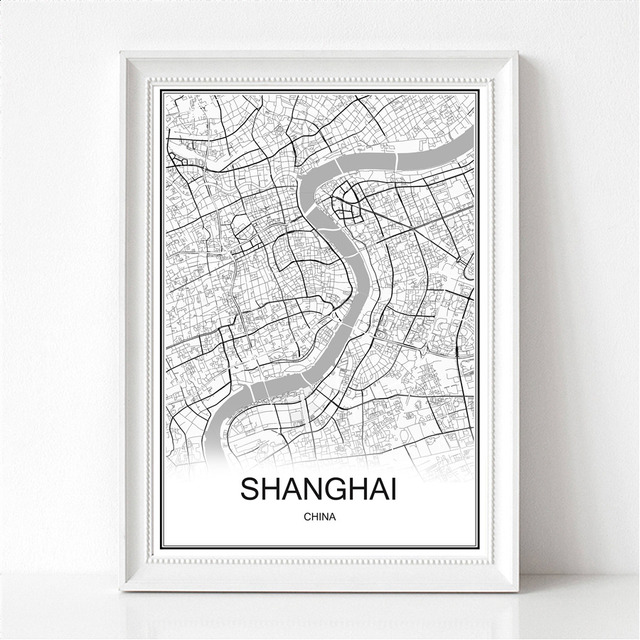 SHANGHAI China World City Map Print Poster Abstract Coated Paper Bar ...