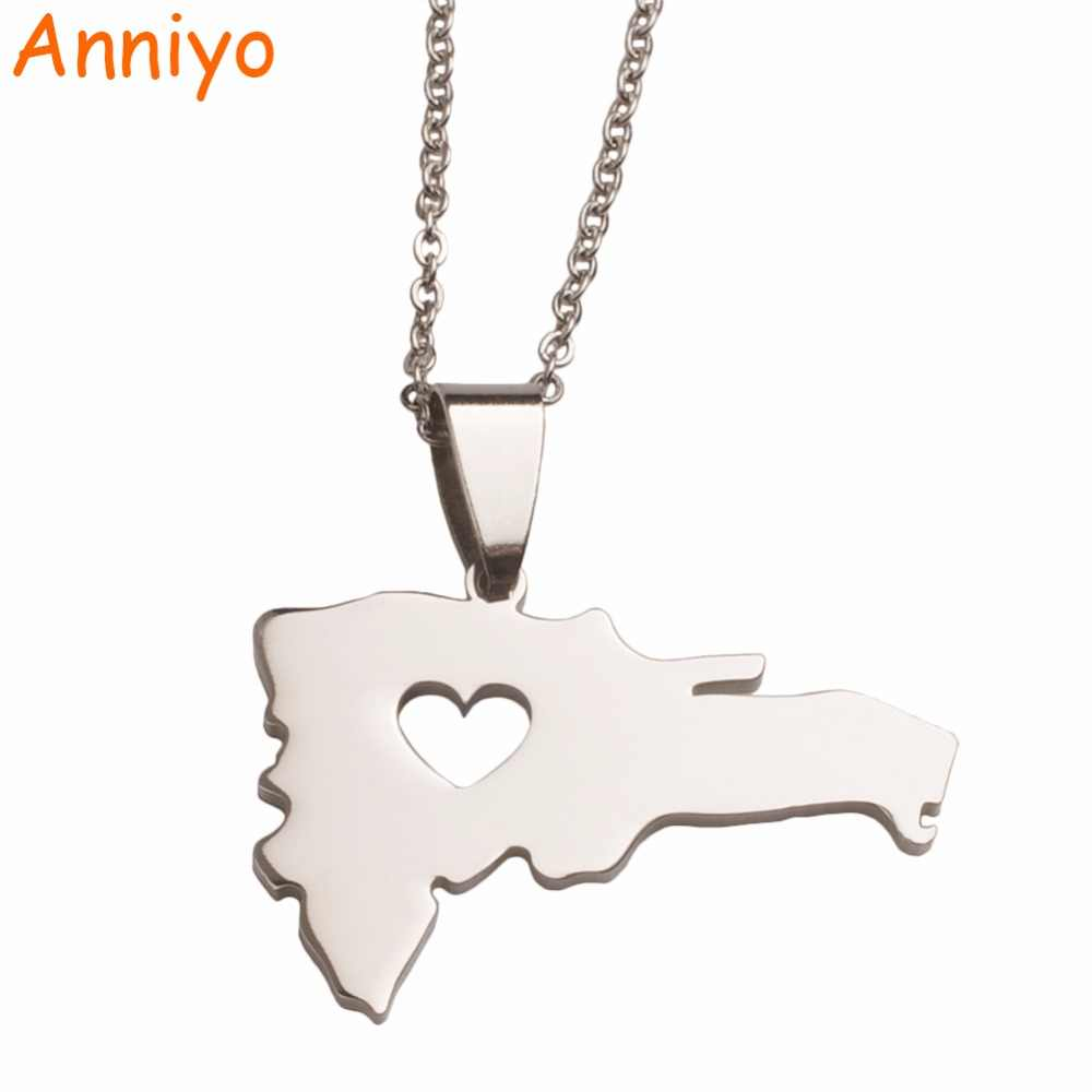 Anniyo Heart The Dominican Republic Map Pendant Necklace for Women/Men,Silver Stainless Steel Jewelry Map of Dominican #004321B