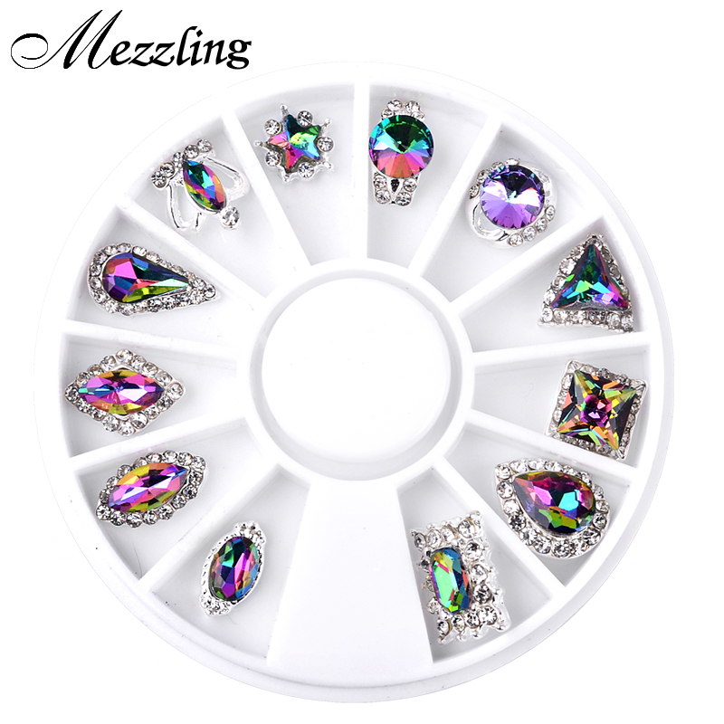12pcs/Box Symphony AB Glitter Crown Droptear Alloy Nail Art Decoration Wheel 3d Charm Nail Rhinestone Jewelry Tools golden black nail art crown hollow flakes 3d decoration sticker wheel alloy uv gel polish tips diy charm jewelry accessories