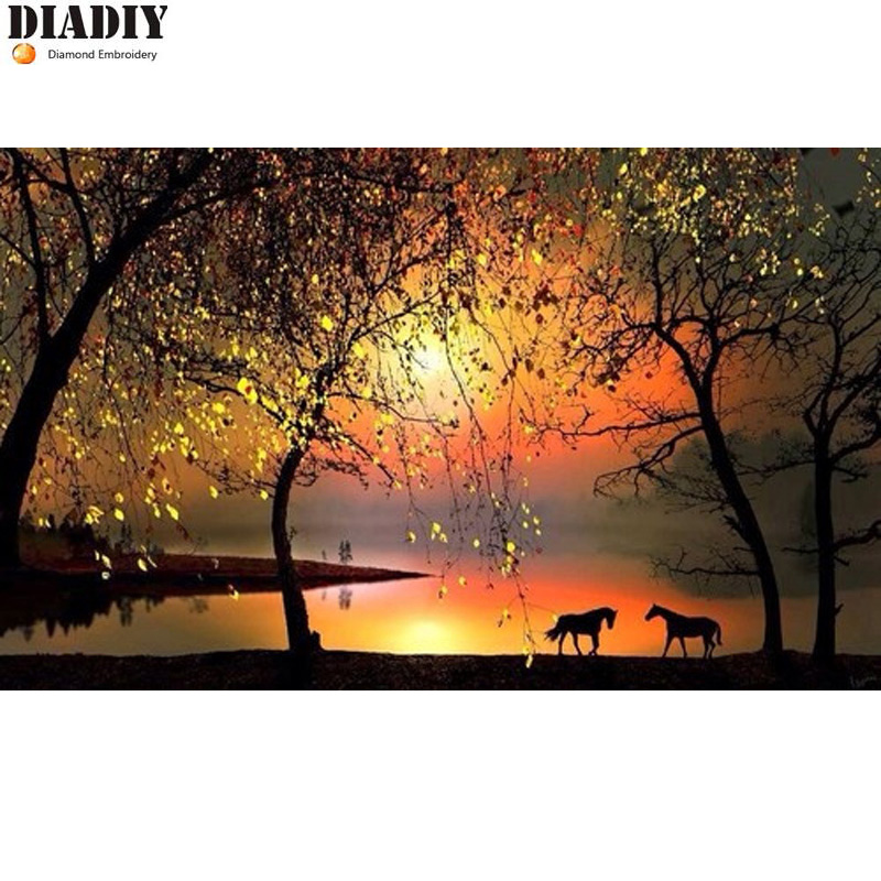 Full round diamond 5D DIY diamond embroidery Sunset horse diamond painting Cross Stitch Rhinestone mosaic home decoration CX
