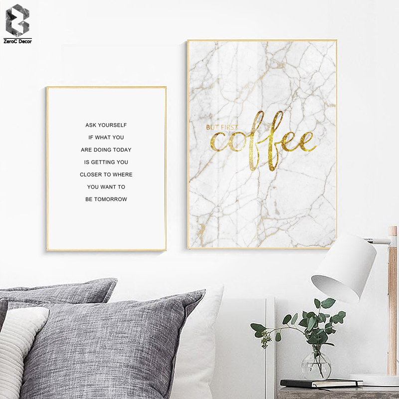 Scandinavian Minimalist Canvas Art Painting Marble Quotes Nordic Poster Print Decoration Picture Modern Home Decor
