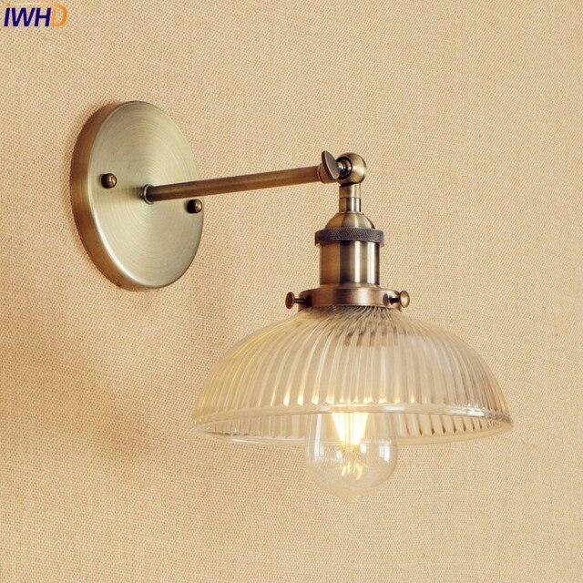 Antique Br Wall Light Fixtures Gl Swing Long Arm Vintage Lights Sconce Beside Lamp Lamparas De Pared