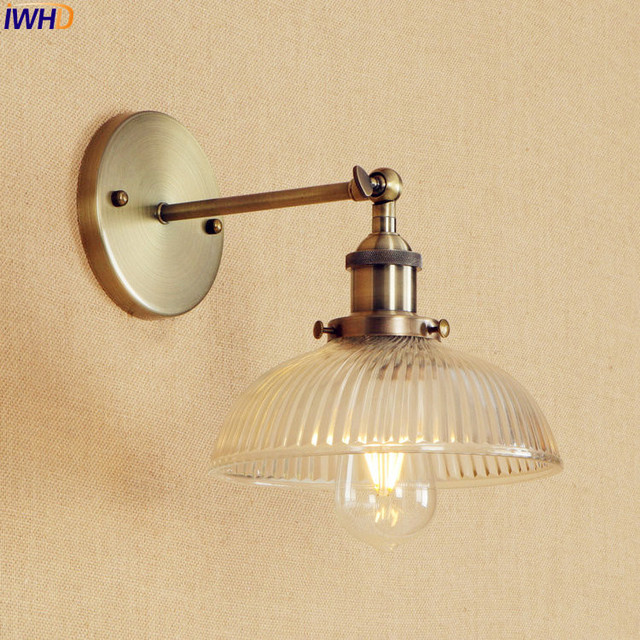 アンティーク真鍮の壁照明器具ガラス産業の横にスイングアームヴィンテージ壁灯燭台ランプ lamparas デ · パレー