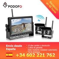 Podofo 7 TFT lcd автомобиль сплит заднего вида Реверсивный монитор + цифровой беспроводной водонепроницаемый ИК резервные камеры для грузовиков/
