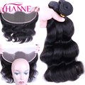 13x4 Lace Frontal With Bundles, 3Pcs Brazilian Virgin Hair Body Wave With Ear to Ear Full Lace Closure Bleached Knots Human Hair