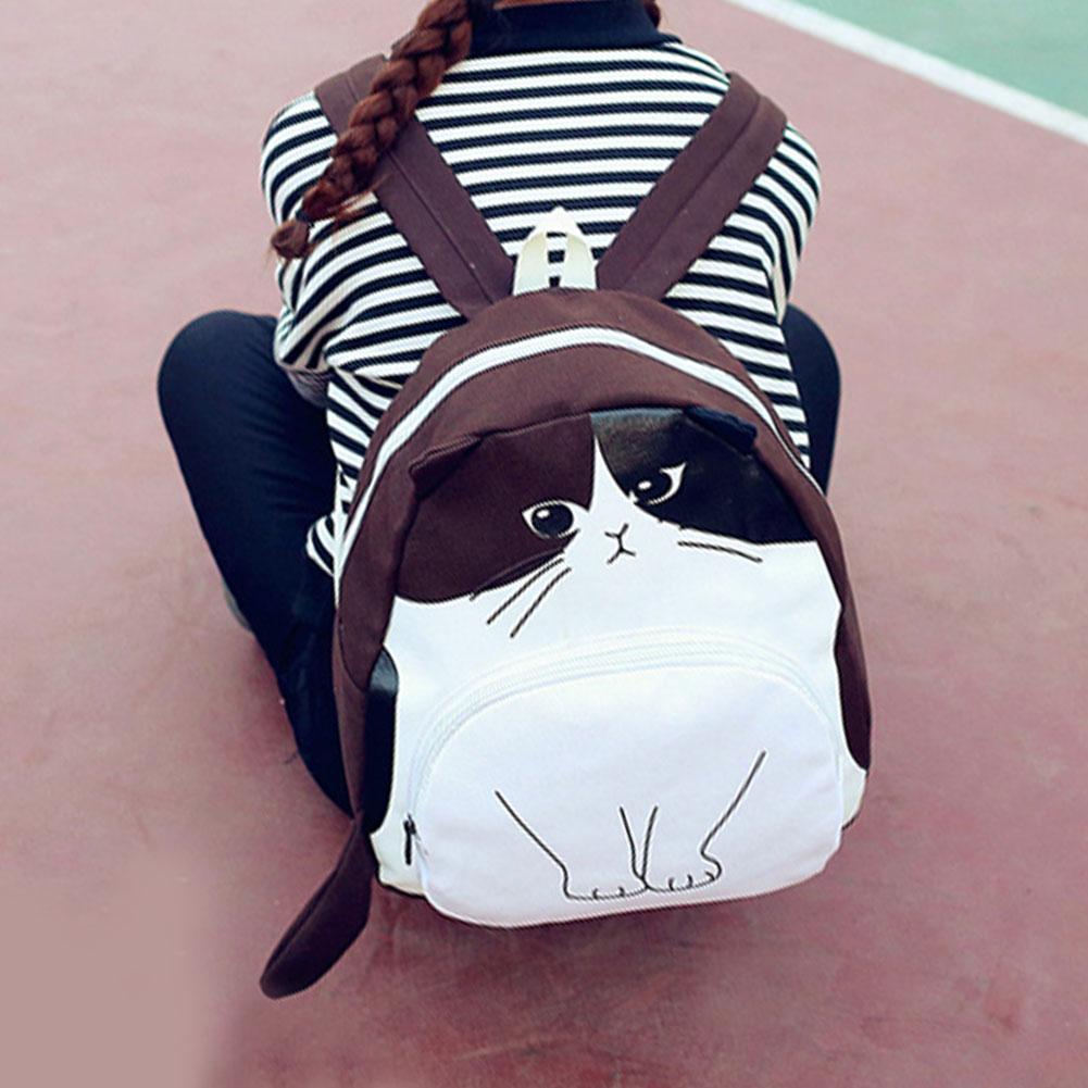 Women Canvas Lovely Bags Cute Cat Printing Backpack Girls Casual School Bag for Ladies Travel Rucksack Bookbags Mochila Feminina in Backpacks from Luggage Bags